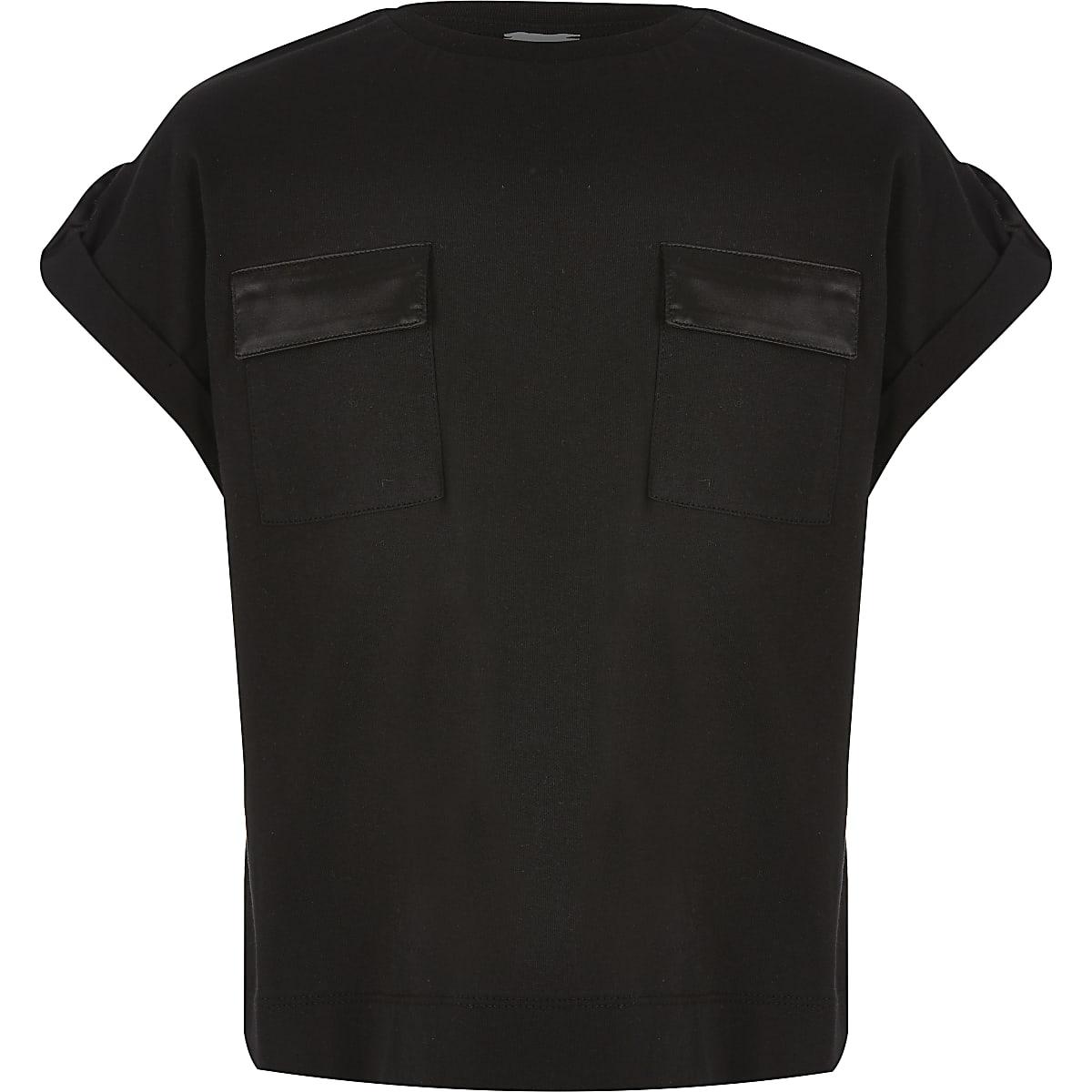 Girls black utility T-shirt