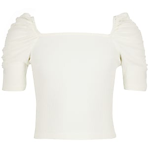 Girls cream square neck top
