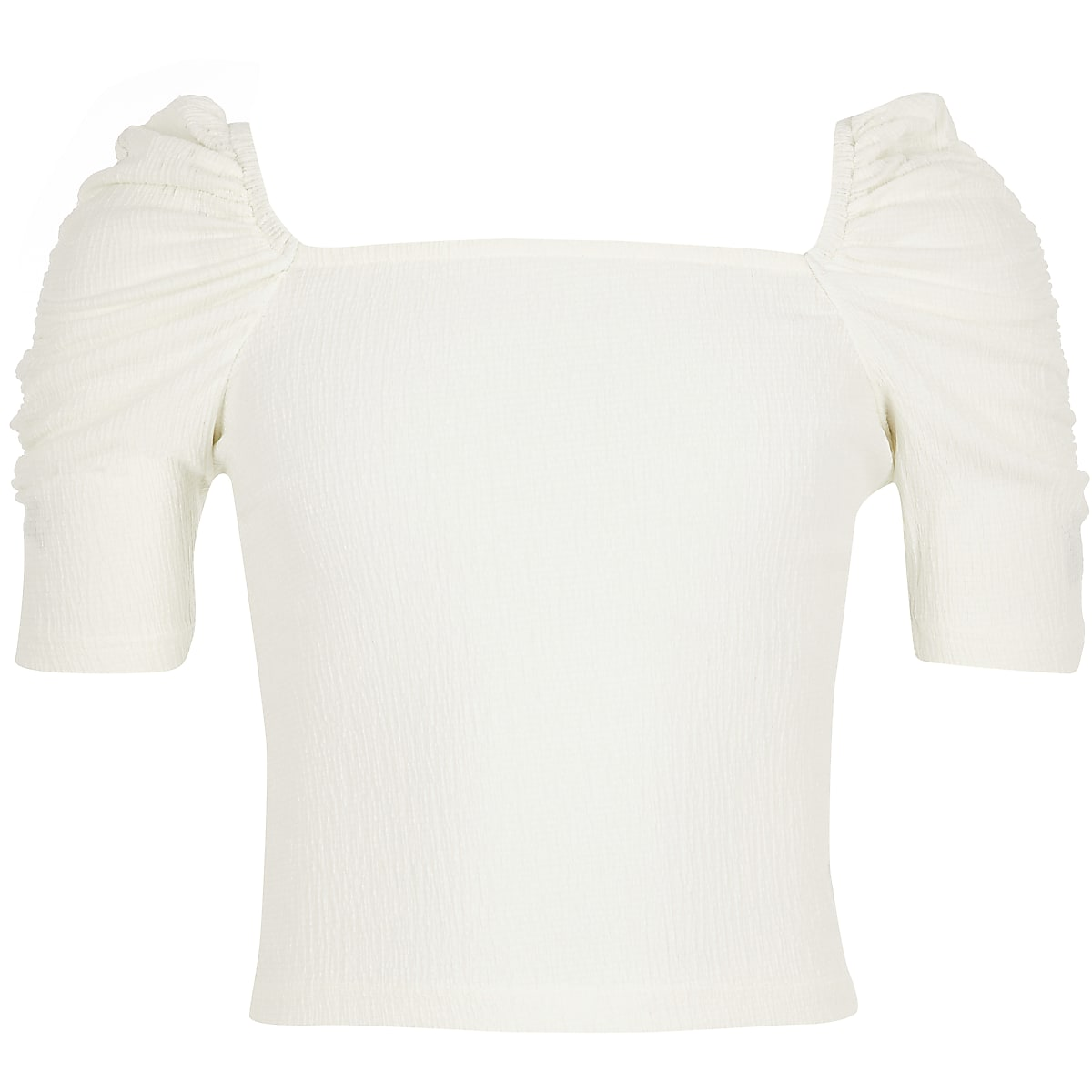 Girls cream square neck top