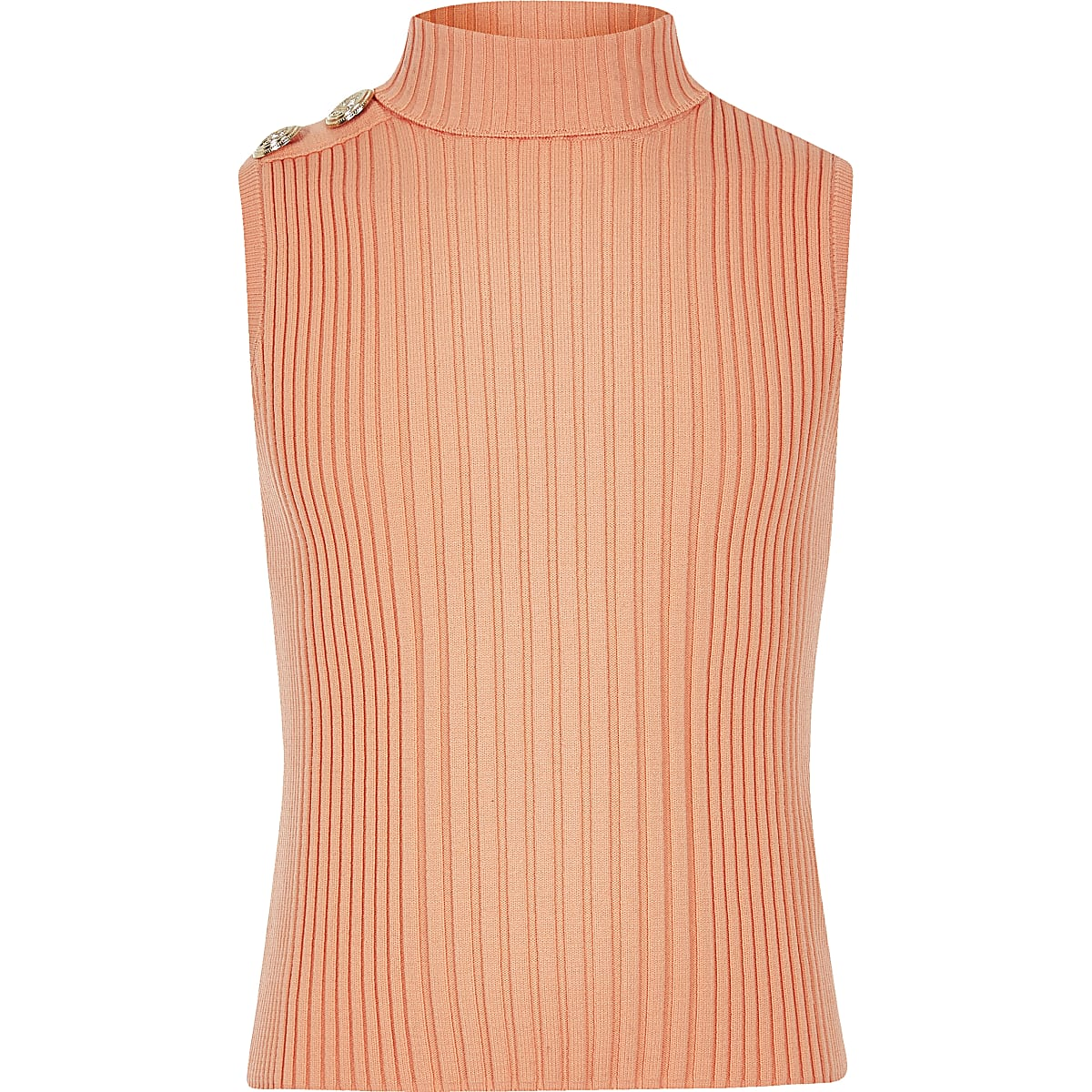 Girls orange turtle neck tank top