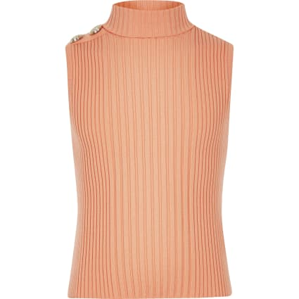 Girls orange turtle neck knitted tank top