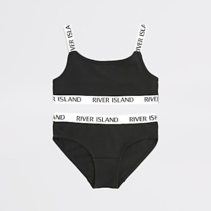Girls black RI strap brief and crop top set