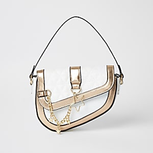 Girls white saddle shoulder bag