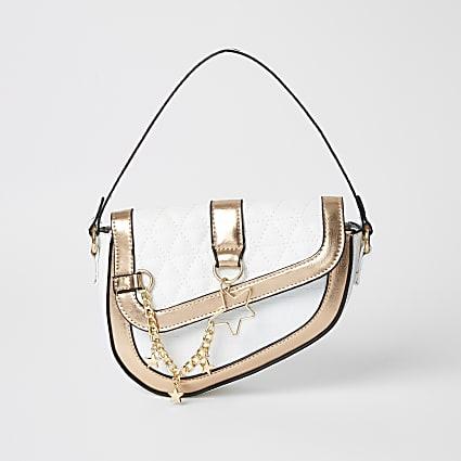 Girls white saddle shoulder bag