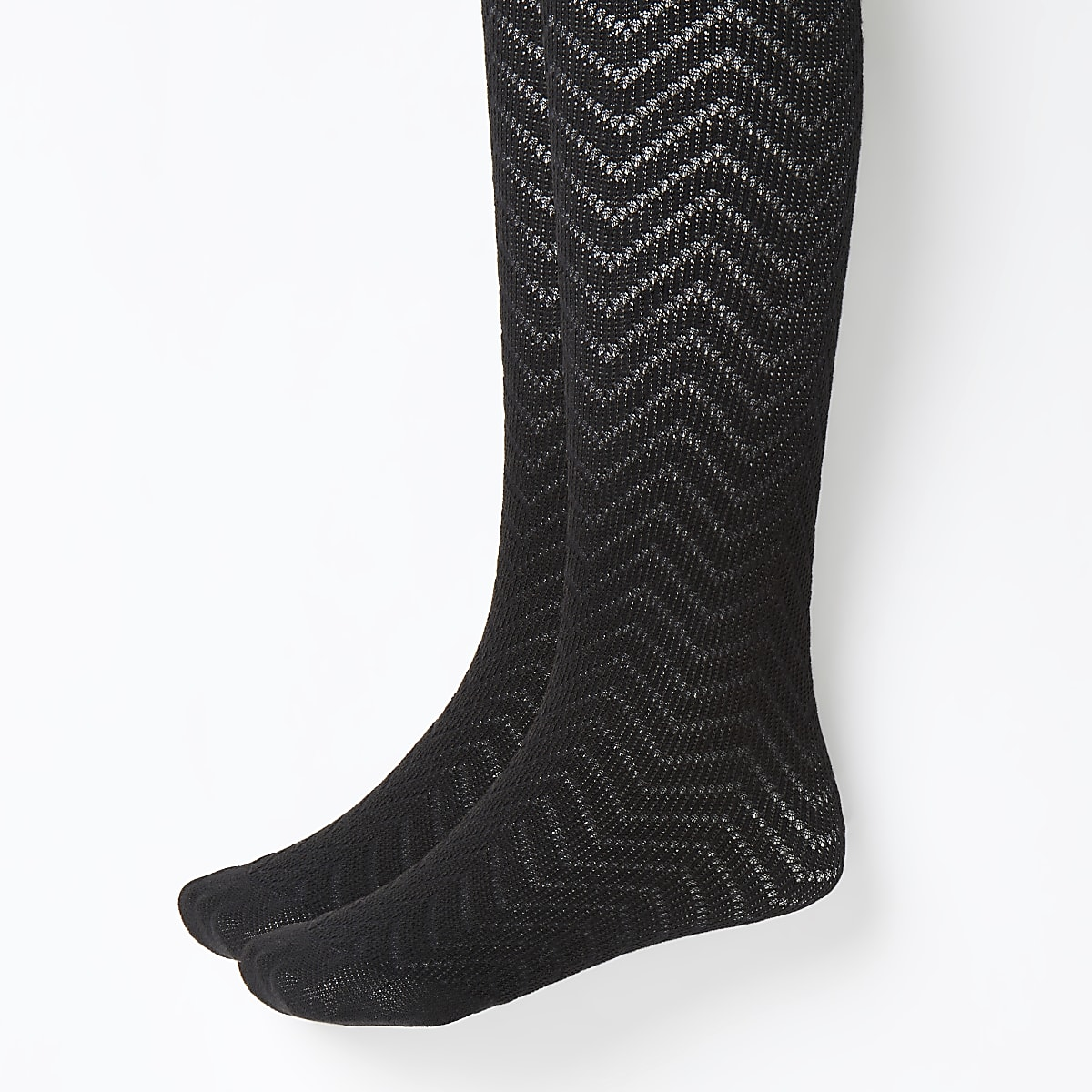 Girls black knitted tights 2 pack