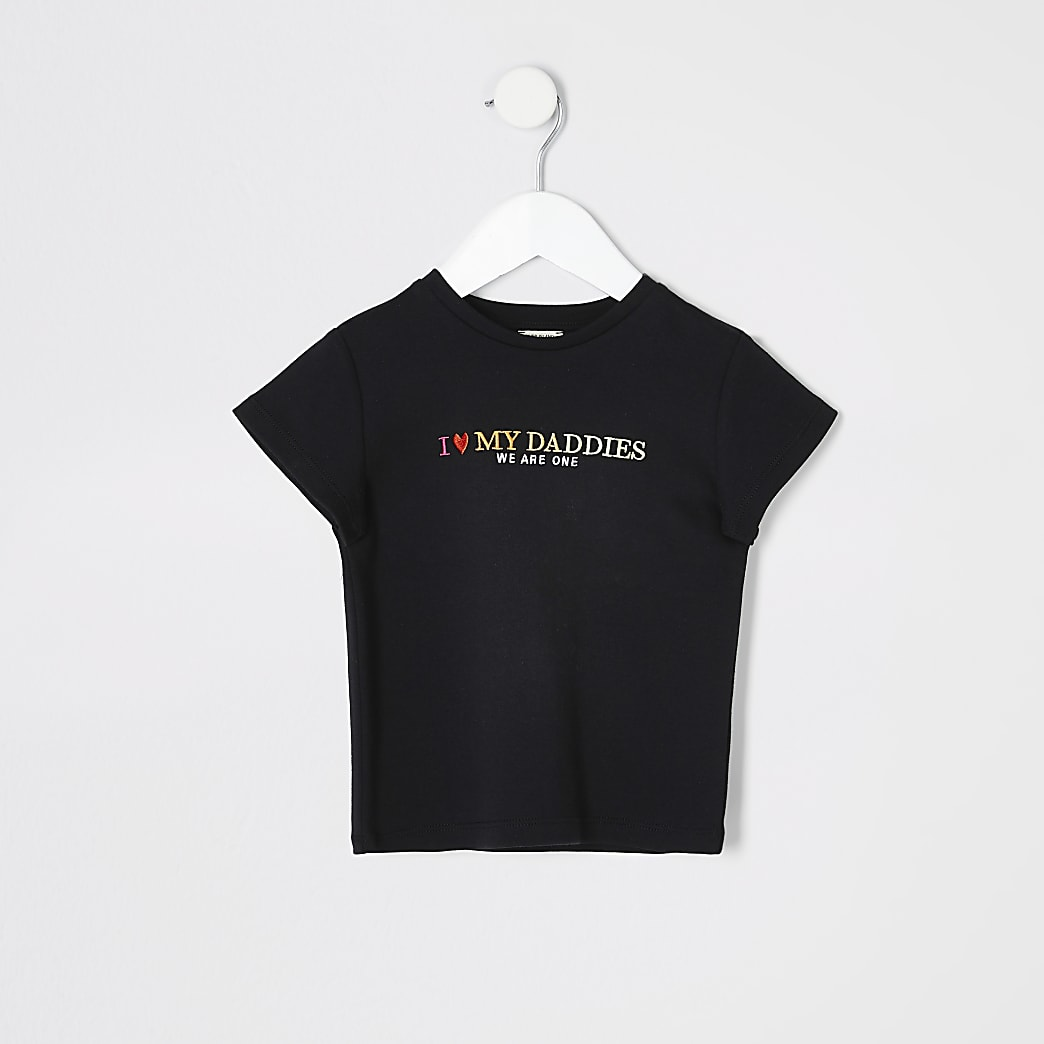 Mini kids black 'We are one' pride T-shirt