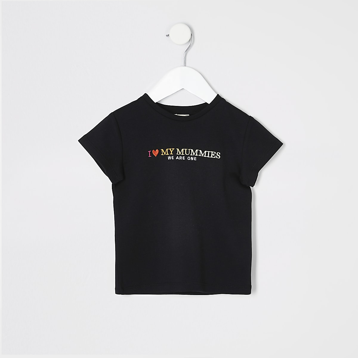Mini kids black 'We are one' pride T-shirt