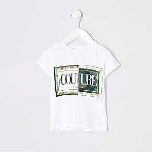 Mini girls white 'Couture' camo T-shirt