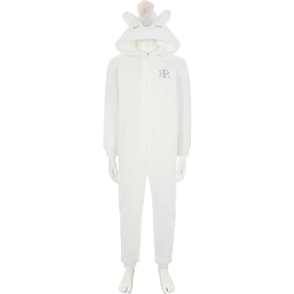 Girls white unicorn onesie