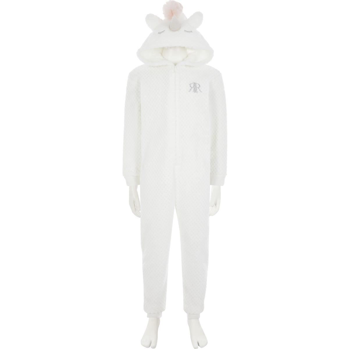 Girls white unicorn onesie