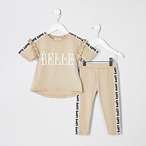 Mini - Outfit met beige T-shirt met print voor meisjes