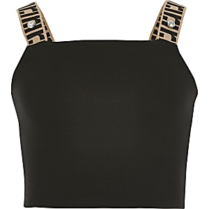 Girls black square neck crop top
