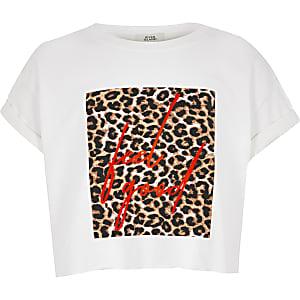 Wit T-shirt met neon 'Feel good'- en luipaardprint voor meisjes