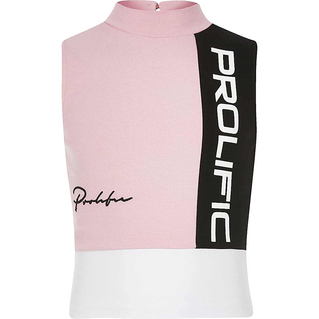 Girls pink Prolific colour block top