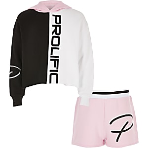 Girls pink 'Prolfiic' hoodie outfit