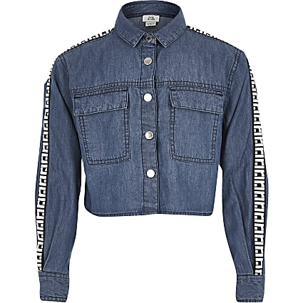 Girls blue RI denim shirt