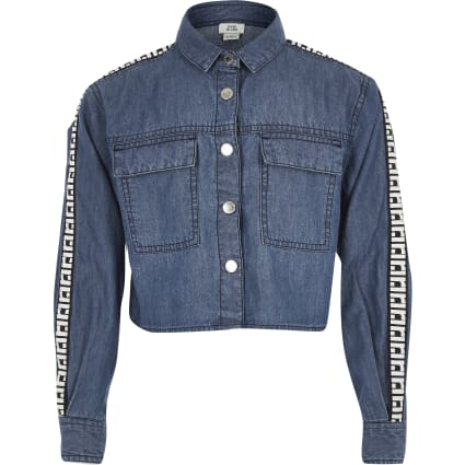 Girls blue RI denim shirt