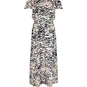 Pinkes Bardot-Maxikleid mit Leoparden-Print