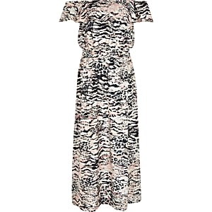 Girls pink leopard print bardot maxi dress