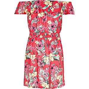 Pinkes, geblümtes Bardot-Kleid