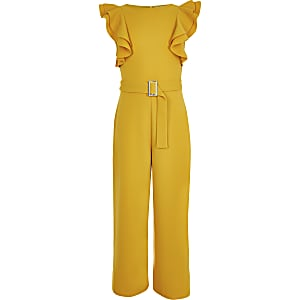 Girls dark yellow frill jumpsuit