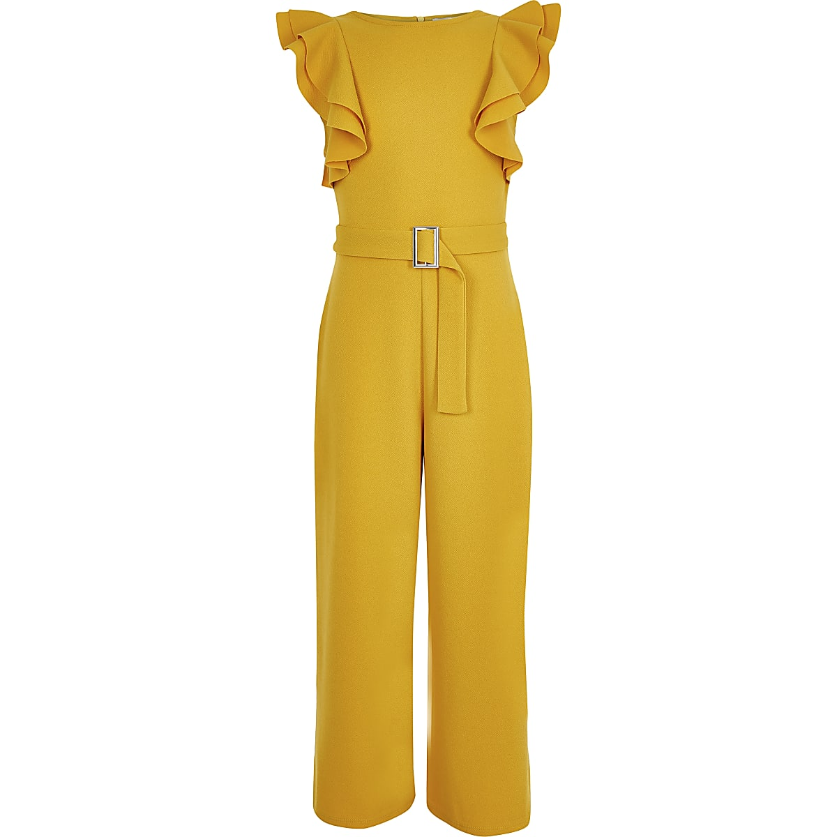 Girls dark yellow frill jumpsuit