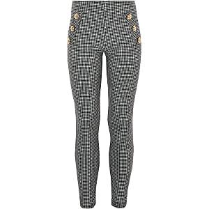 Witte geruite mono-leggings met pied-de-poule-motief voor meisjes