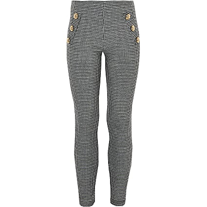 Girls white mono dogtooth check leggings