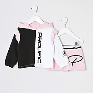 Ensemble avec sweat à capuche «Prolific» rose mini fille