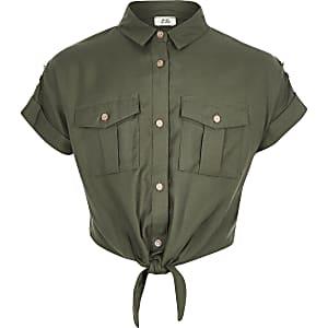 Chemise utilitaire kaki nouée sur le devant pour fille