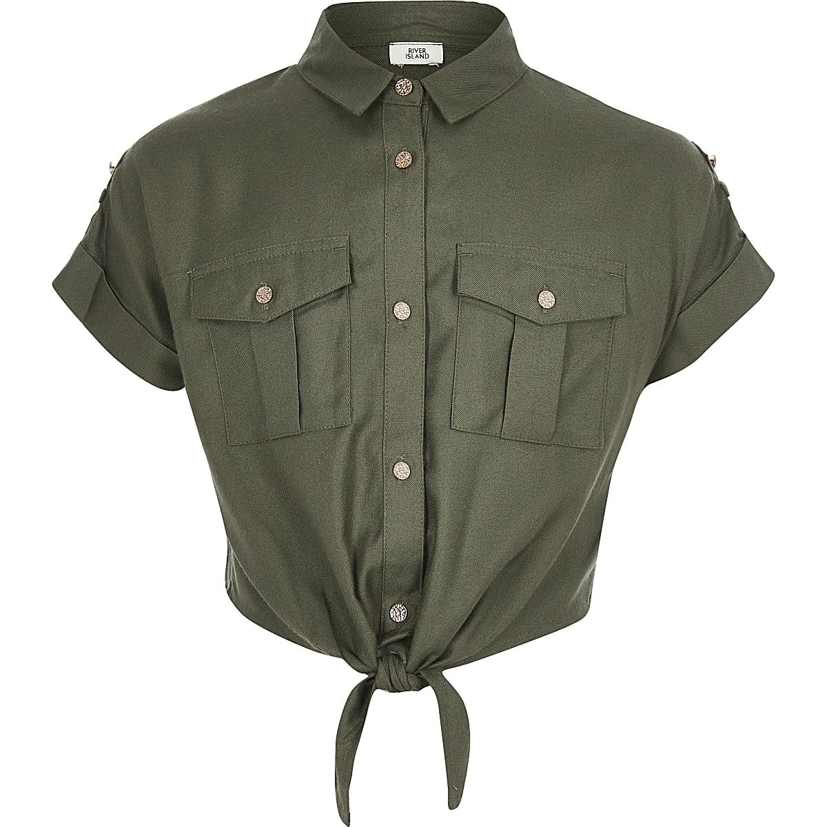 Kaki utility overhemd voor meisjes met strik voor