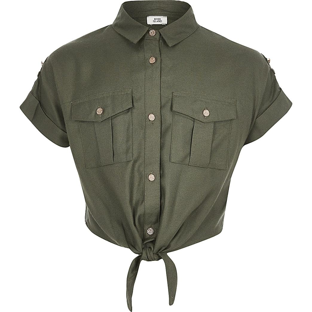 Girls khaki tie front utility shirt