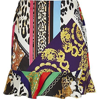 Girls black mixed print skirt