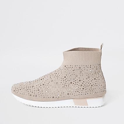 Girls pink sequin embellished sock trainers