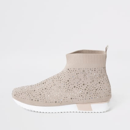 Girls pink sequin embellished sock trainers
