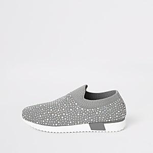 Graue Sneaker mit Strassverzierung für Mädchen