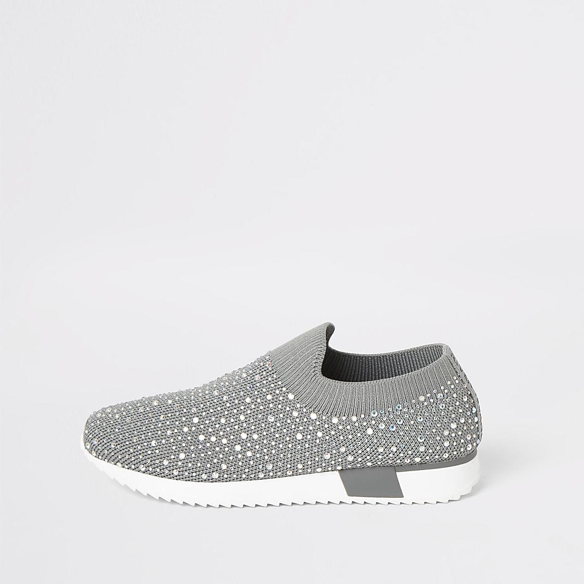Girls grey diamante knitted runner trainers