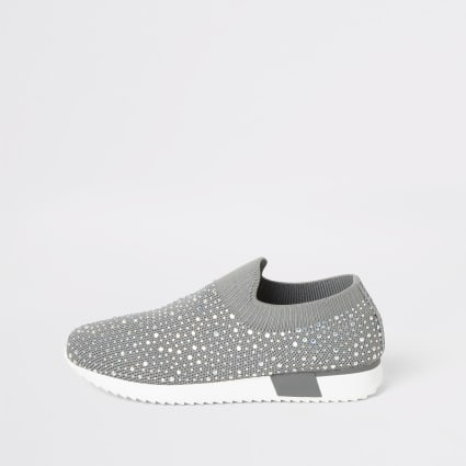 Girls grey diamante knitted runner trainers