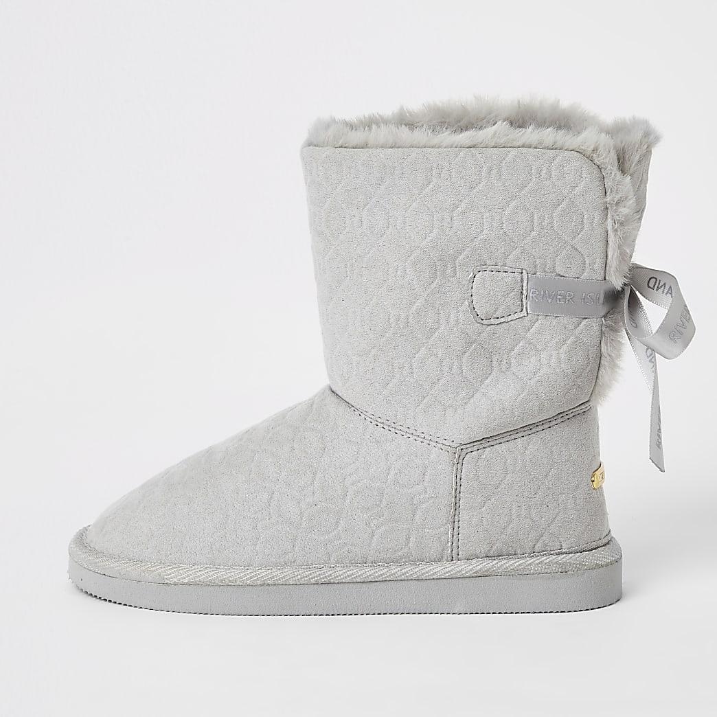 Graue Stiefel aus Kunstfell mit RI-Prägung für Mädchen