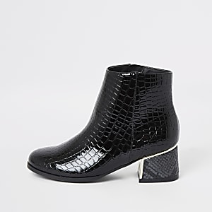 Zwarte lakleren laarzen met slangenprint voor meisjes