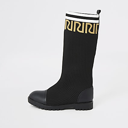 Girls black RI knee high sock boots