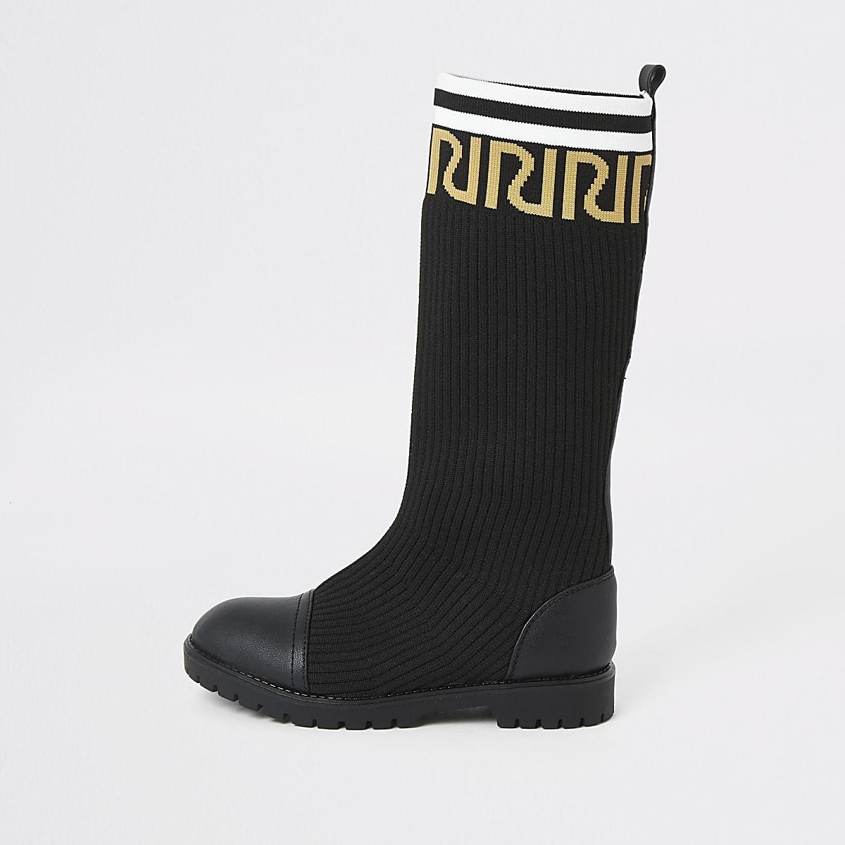 Zwarte kniehoge sock boots met RI-print voor meisjes