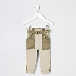 Mini girls khaki belted utility trousers