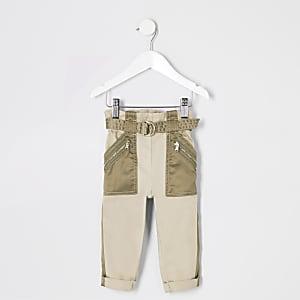 Mini - Kaki utility broek met ceintuur voor meisjes