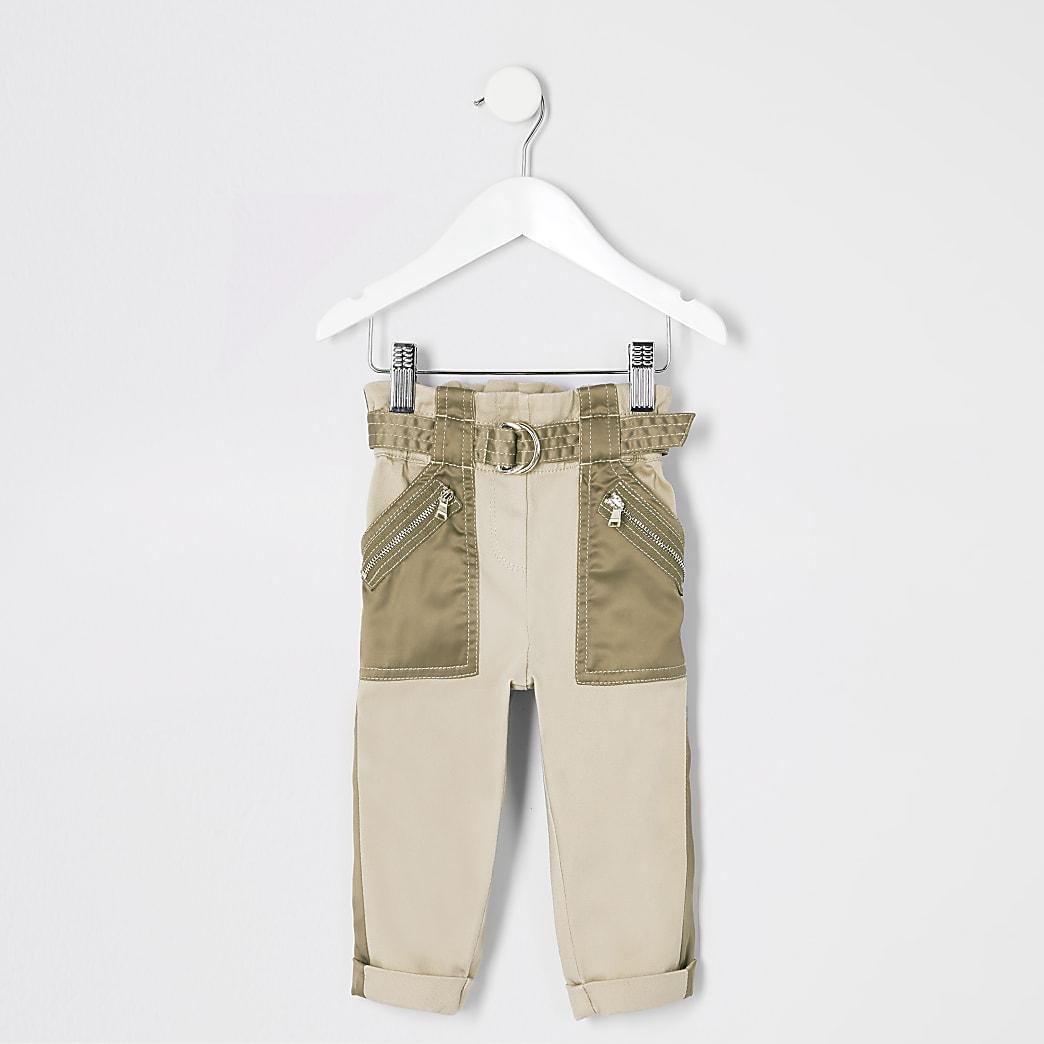 Mini girls khaki belted utility trousers