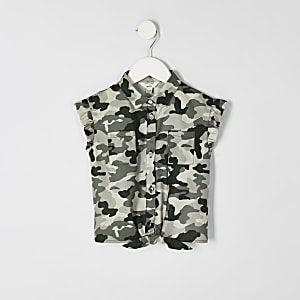 Mini girls khaki camo tie front shirt
