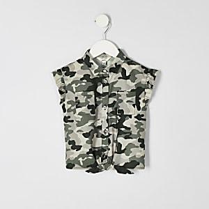 Hemd in Khaki zum Binden