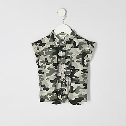Mini girls khaki camo tie front shirt