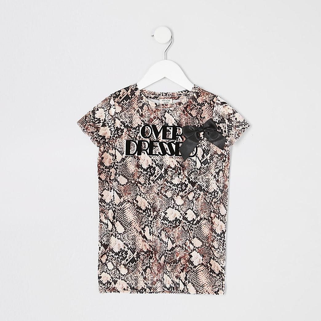 Mini girls pink snake print T-shirt dress