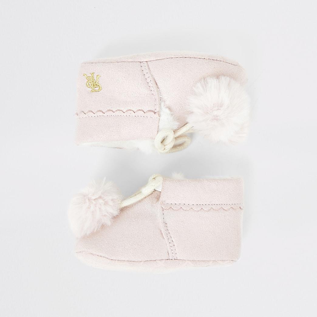 Baby pink faux fur pom pom booties